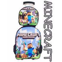 Mochila Escolar De Rodinhas Minecraft Grande 2016.