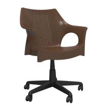 Cadeira Office Para Escritório Marrom De Rodízio Pé Giratóri