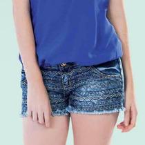 Shorts Jeans Feminino Denim Desfiado Costura Detalhes