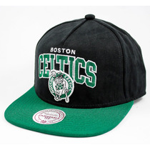 Boné Mitchell And Ness Snapback Boston Celtics Nobuck Preto