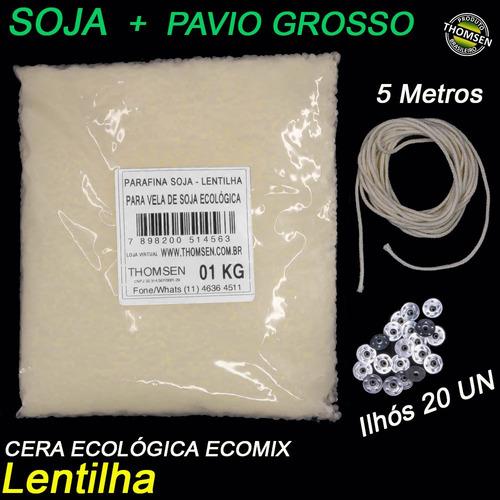 Kit 1kg Parafina Soja Ecologica + 5 Metros Pavio Grosso Vela