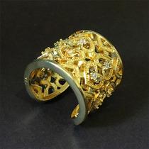 Anel Feminino Ajustável Banhado Ouro 18k Swarovski | Luxo