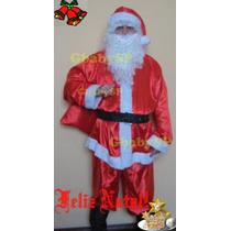 Roupa Fantasia Papai Noel Com Barba E Peruca Luxo - P Ao Gg