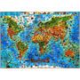 Mapa Mundi Ilustrado Mundo Animais Espécies Bichos Reinos Hd