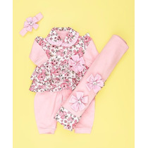 Kit Saída De Maternidade Floral Rosa - Bebê Menina