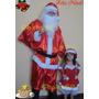 Roupa De Papai Noel Com Barba E Peruca Luxo + Sino + Luvas