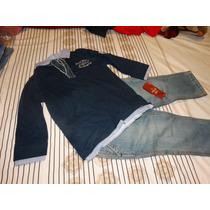 Conjunto Calvin Klein Jeans E Camisa Azul-tam 3