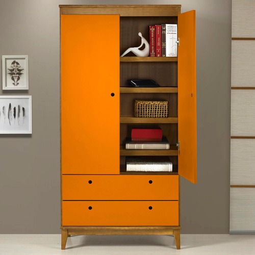 Armário Multiuso Hendrix 0182 - 0 - 878 Maxima Nogal / laranja