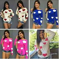 Blusa Feminina Em Tricot Crochê Renda Estampada Em Coração