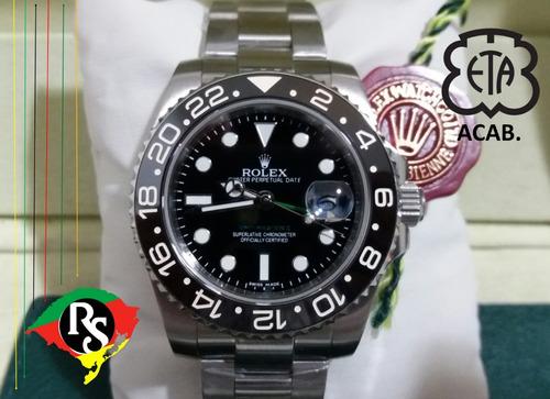 61e5235dcc5 Relogio Rolex Acab Eta Gmt Master Preto Top Safira Lxrs
