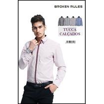 Camisa Slim Social Masculina Broken Rules Novo