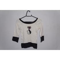 Blusa Feminina Branca Estampa Gato Cód. M10