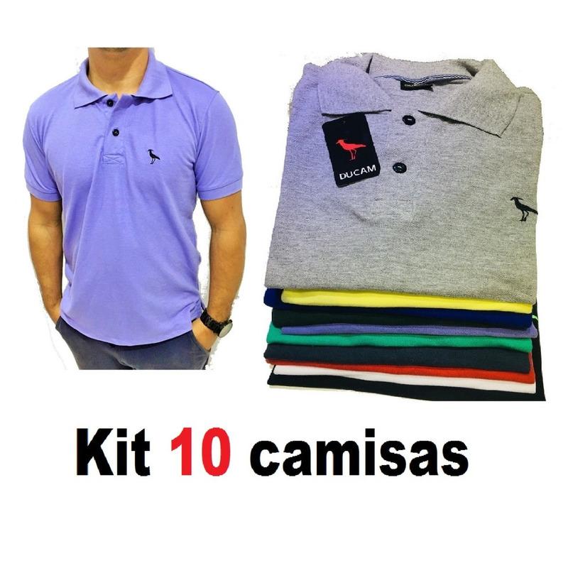 87d751ff8f Kit C 10 Camisas Camisetas Atacado Gola Polo Masculina Frete em ...
