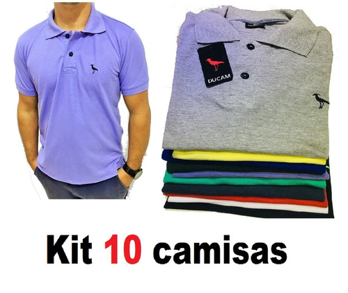7d526a9162fe7 Kit C 10 Camisas Camisetas Atacado Gola Polo Masculina Frete. Preço  R  182  Veja MercadoLibre
