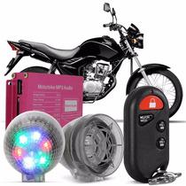 Alarme P/ Moto Prova Dágua Microsd Usb Mp3 Fm Caixas Som E26