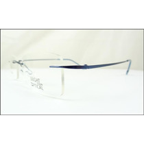 Armação Oculos Grau Azul De Feita De Titanium Sem Aro A526