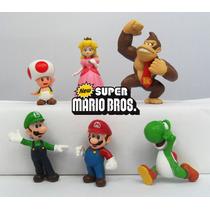 Kit 6 Bonecos Super Mario Bros Donkey Kong Toad Luigi Yoshi