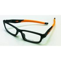 Armação Oculos Grau Crosslink Preto Laranja Haste Removivel