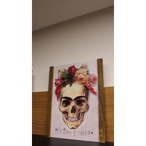 Quadro Frida Khalo Madeira De Demolição Caveira Mexicana