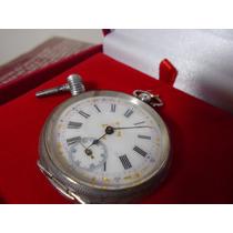 Relógio Bolso Chavinha Prata Maciça Antigo Cilindro 1890