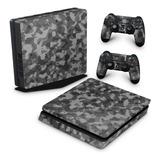 Skin Ps4 Slim Adesivo Playstation 4 Camuflada Escura