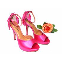 Sandália De Festa Em Cetim Pink