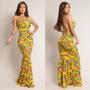 Vestido Longo Sereia Floral Tubinho Justo Verão Estampado Original