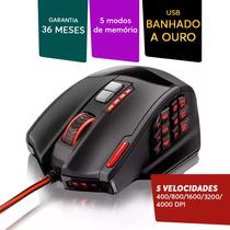 Mouse Gamer Warrior Multilaser Profissional 4000dpi 18botões
