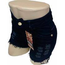 Shorts Morena Rosa Azul Escuro Desfiado Cintura Alta