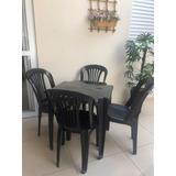 Conjunto De Mesas E Cadeiras De Plástico  150 Kls Preto