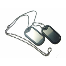 Corrente Militar Exercito Identificação 2 Placas Aço Inox
