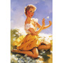Poster Pinup Linda Garota Loira Sensual Olhar Jardim Flores