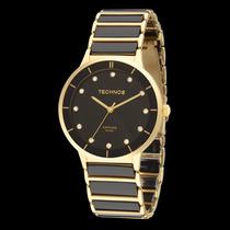 Relógio Technos Cerâmica Preto C/ Dourado Redondo 2036lmo/4p