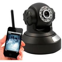 Câmera Ip Wireless C/ Rotação Acesso Remoto Leds E Grava Sd