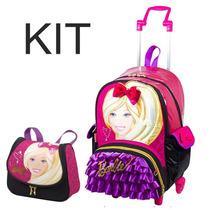 Kit Mochila Com Rodinhas G + Lancheira Barbie Com Bolsinha