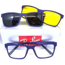 6aa1ea4cb Oculos Armação + 2 Clip On Sol E Grau Masculino Feminino 88