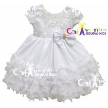 Vestido De Festa Infantil Princesa, Daminha Luxo Com Tiara