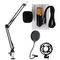 Áudio Som Microfone Condensador Kit Vento Pop Tela De Filtro