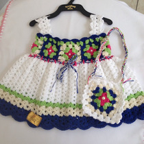 Vestido Bebe Crochê Com Bolsinha