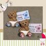 Kit 30 Lembrancinhas Nascimento Ursinho Biscuit C/ Imã E Tag