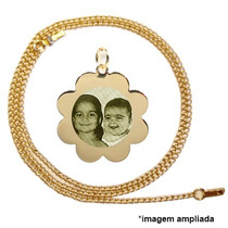 Pingente Flor Banhado Ouro Foto Gravada, Corrente - Dia Mães