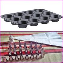 Forma P/ Cupcake 12 Cavidades Antiaderente + Kit Bico 24 Pçs