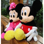 2 Pelucias, Mickey E Minnie Laço Rosa Tamanho 50cm Original