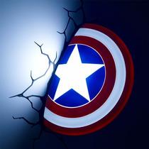 Escudo Do Capitão América Luminária 3d Light Fx Avengers