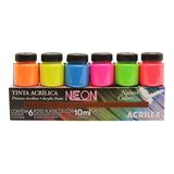 Conjunto 6 Cor Tinta Acrílica Neon Fluorescente 10ml Acrilex