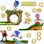 Kit Adesivo Sonic Quarto Papel Parede Infantil Cenário 2,40m