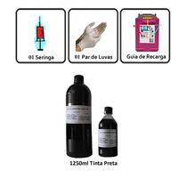 1 Litro Tinta Preta P/ Recarga De Cartucho   Grátis + 250ml