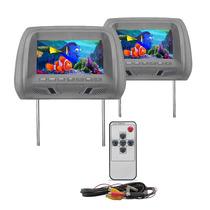 Par Encosto De Cabeça C/ Tela Lcd 7 Monitor Com Controle