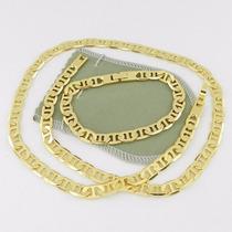 Conjunto Cordão 53cm 8mm Pulseira 20cm Folheada Ouro Cr156