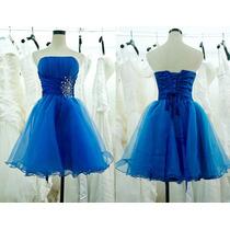 Vestido De Festa Curto Azul Royal Casamento Madrinha